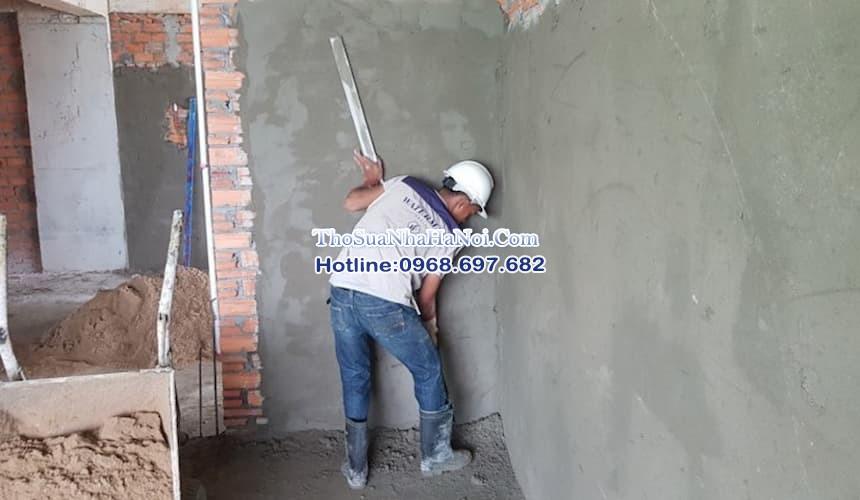 Đội thợ hoàn thiện xây trát tường tại Hà Nội